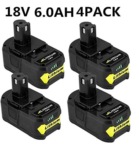 4Pack P108 Battery Replacement for Ryobi 18v Battery 6.0Ah 18V Lithium for Ryobi 18-Volt One+ P104 P105 P102 P103 P107 P108 P109