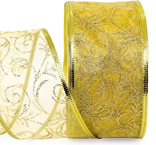 Gold Wired Ribbon Sheer Organza 2.5 in Ribbon Holiday Gift Wrap Birthday Party, Wedding Gifts, Christmas – 50 Yards Large Glitter Roll