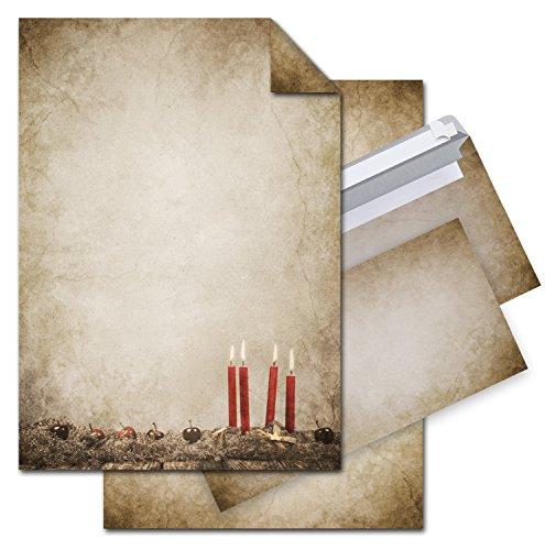 SET 25 Blatt Weihnachts-Briefpapier VINTAGE ADVENTSKRANZ KERZE 100g Weihnachts-Papier DIN A4 Brief-Bogen + 25 Stück Umschlag marmoriert vintage natur rot braun alt beige