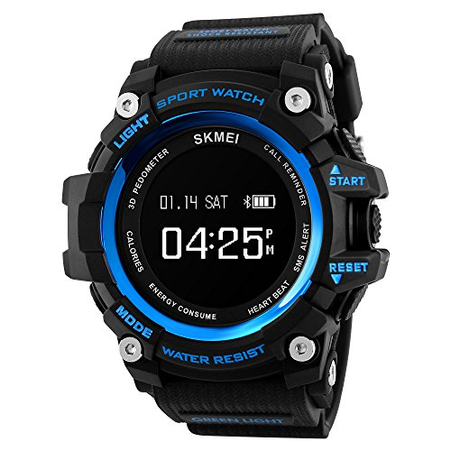 Smart Watch Sports Bluetooth Watch Pedometer Fitness Tracker Wearable Technology Waterproof Remote Camera Running Equipment for Android and iOS Smartphones Best Choice for Men and Boys (Blue Black)