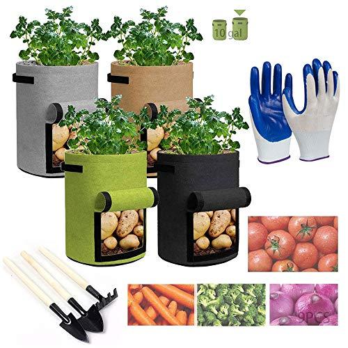 Paquete Bolsas de Cultivo de Papa,Macetas de Tela 10 Galones,Macetas de Tela con Asas,Bolsas de Cultivo de Papa,Bolsas para Plantas,Bolsas de Cultivo de Verduras