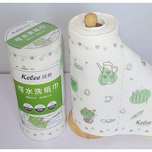 BAYUE Professionele Wasbare Herbruikbare Keuken Olie Decontaminatie Papier Handdoeken Print Web Living Art 60 stks Roll Kookhuis Milieuvriendelijk
