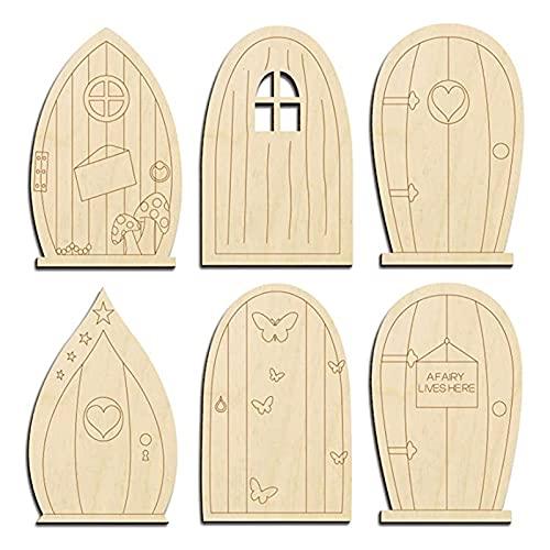 Shubiao 24 piezas de puerta de jardín de hadas 6 diseños puerta de hadas de madera sin terminar kit de manualidades en blanco para puerta de hadas de dientes en miniatura 9,9 x 6,3 cm