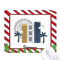 シンガポール・フライヤーと建物 ゴムクリスマスキャンディマウスパッド