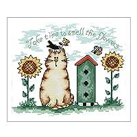 ひまわりと猫 刺繍キット クロスステッチキット 印刷パターン 初心者 14CT DIY 手作り 部屋の装飾 26x20cm