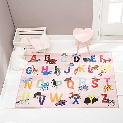 """Home Dynamix Eric Carle Elementary Pink Alphabet Area Rug 35""""x51"""", Graphic/Print Alphabet Pink/Blue/Yellow"""