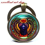 Scarab Keychain Glass Tile Keychain Egyptian Keychain Glass Tile Keychain Egytian Jewelry Scarab Jewelry
