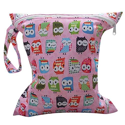 Baby Kleinkind Wasserdichtem Reißverschluss Wiederverwendbare Stoff Windel Tasche w / bunte Eulen Muster Rosa