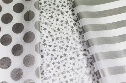 Metallic Silver & White Gift Wrap Tissue Paper for All Occasions. 36-Pack Includes 12 Sheets Each of Polka Dot, Striped and Stars Patterns. Large 20 x 30 Squares, Silver Metallic and White
