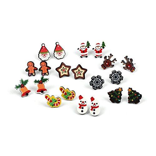 Ranvi Frauen Weihnachten Ohrring Stud - 10 Paare hypoallergen Weihnachtsgeschenke für Jugendliche Mädchen Kinder niedlich festliche Ohrringe Schmuck Set Party