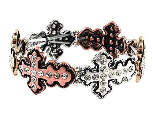 Mix&Match Iced Out Religious Cross Stretch Bracelet (Silver/Gold/Copper)