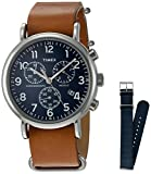Timex TWG012800QM Unisex Weekender Chrono Tan Leather Strap Watch Gift Set + Navy Nylon Strap