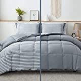 Bedsure Blue Queen/Full Comforter Set - 3 Piece Reversible Percale Stripes Hypoallergenic Down Alternative Box Stitching Duvet Insert with 8 Corner Tabs - All Season Bed Set with 2 Pillow Shams