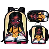 Smileygirl African Bookbags for Teenage Girls Black Queen American Backpack with Lunchbox Elementary School Bags 3 piece