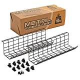 Under Desk Cable Management Tray 2 Pack with 10 Adhesive Wire Clips, 17x6 Inch Wire and Power Cord Organizer for Office, Studio, and Home Tables, Durable and Sturdy Metal Cabling Basket with Screws