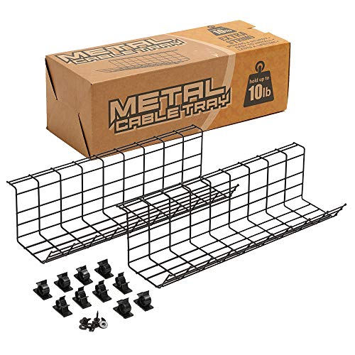 Under Desk Cable Management Tray 2 Pack ...