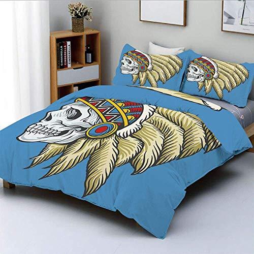 Juego de funda nórdica, cráneo muerto nativo americano con plumas, tatuaje popular, patrón azteca decorativo, juego de cama decorativo de 3 piezas con 2 fundas de almohada, perla crema azul violeta, m