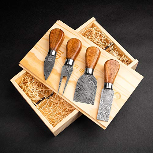 Forseti Steel Tout le Fromage Damascus Steel Cheese Knife Set