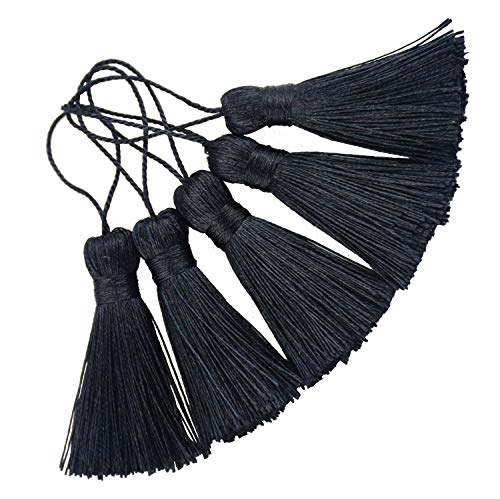 Makhry 20pcs 4.3 Pulgadas Hecho a Mano Sedoso Seda Floja Mini Minúsculo Borlas Artesanales con 2 Pulgadas Cord Loop y Pequeño Nudo Chino para Pendientes,Accesorio de Arte DIY (Negro)