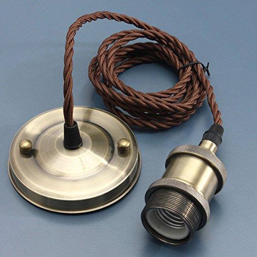 KINGSO E27 Lampenfassung Kupfer Vintage Retro Antike Edison Pendelleuchte Hängelampe Halter Lampe Zubehör mit 2 Meter Kabel Messing matt Rose Bronze