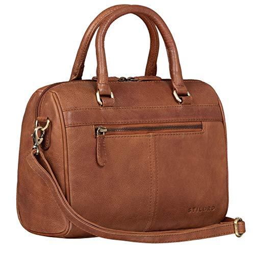 STILORD \'Cassandra\' Leder Handtasche Damen Baguette-Tasche Fashion Ledertasche Henkeltasche Umhängetasche und Schultertasche Echtleder, Farbe:Arona - braun