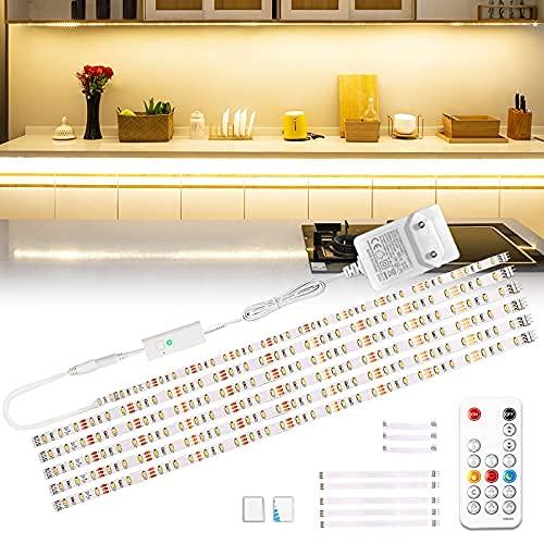 Wobsion LED Unterbauleuchte, 3m Warmweiß LED Streifen, SchrankLicht Küchenbeleuchtung, Helle Lichtleiste mit Drahtlose Fernbedienung, 6X50cm LED Strip Dimmbar, 2700K LED Band 1500 lm Küchenlampe…