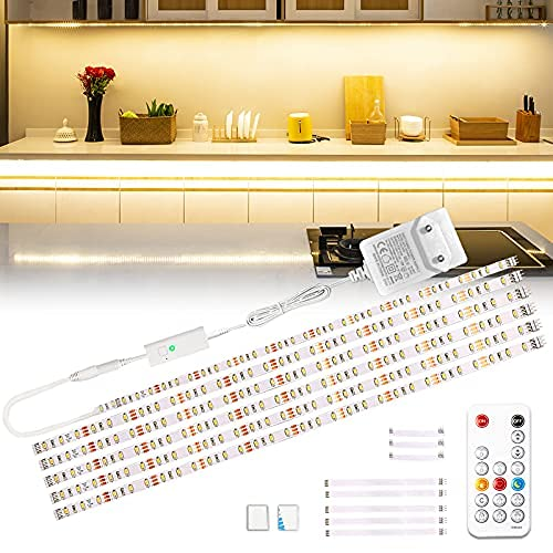 Wobsion Luci led cucina sottopensile, 3M striscia led bianco caldo, led per cucina sottopensile,striscia led adesiva, striscia LED 6X50cm dimmerabile, striscia LED 2700K lampada da cucina 1500 lm