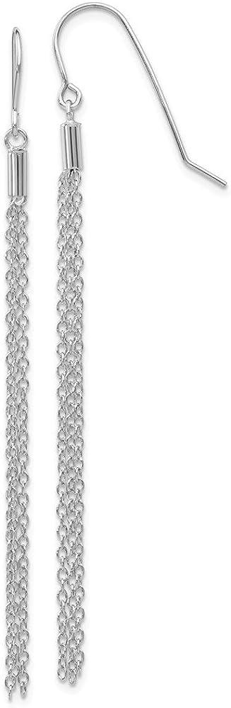 14k White Gold Chain Wire Drop Dangle Chandelier Earrings Fine Jewelry For Women Gifts For Her