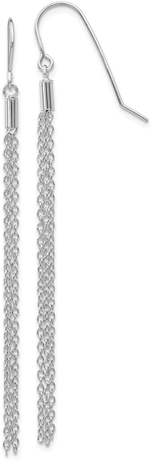 Beautiful White gold 14K 14k White gold Diamondcut Chain Wire Earrings