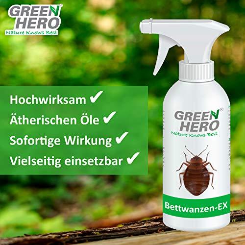Green Hero Spray anti-cimici dei letti Bettwanzen-Ex | 500ml | Contro cimici e acari | Spray di difesa e allontanamento