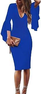 neveraway Women's Evening Business Tunic Bodycon Deep-V Neck Oversized Dresses