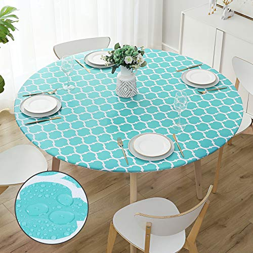 smiry Round Fitted Vinyl Tablecloth - Elastic Edged Flannel Backed Tablecloth, Waterproof Wipeable Teal Moroccan Trellis Pattern Table Cloth for Outdoor Indoor Room