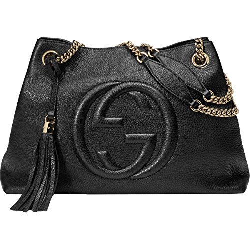 Gucci Soho Large Leather Chain Shoulder Handbag Black BHFO 5480