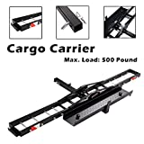 """W4-moto 500 lb Motorcycle Scooter Dirtbike Steel Carrier Hauler Hitch Mount Rack with Loading Ramp 2"""" Receiver Mount"""