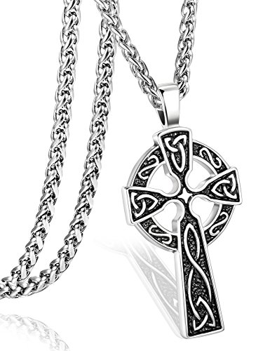 ORAZIO Stainless Steel Celtic Cross Necklace for Men Women Irish Knot Pendant Necklace Chain 30'