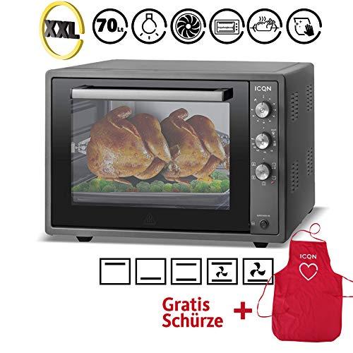 ICQN 70 Liter Schwarz Mini-Öfen | 1800 W | Mini-Backofen mit Innenbeleuchtung und Umluft | Pizza-Ofen | Doppelverglasung | Drehspieß | Timer Funktion | Emailliert Black | Inkl. Schürze