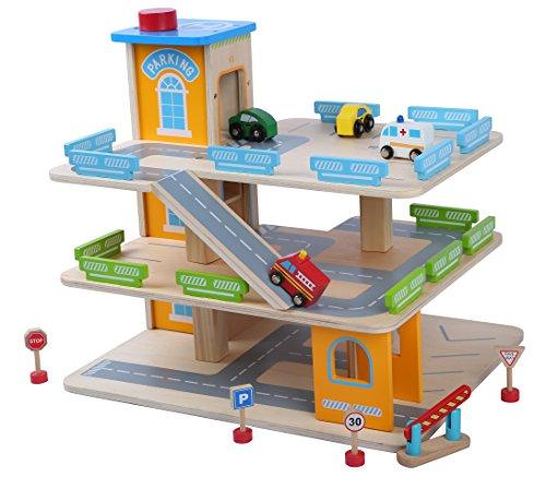 Garage En Bois, Parking a Voitures Avec Étage Et Ascenseur Jeux Parking Voiture Enfant 3 Ans Educatif Coloré 1 Hélicoptèr Vehicules Panneaux de Signalisation