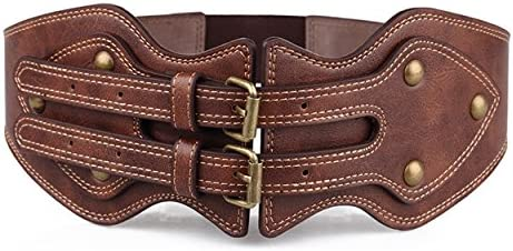 GABERLY Vintage Gothic Steampunk Brown Leather Belt for Women Medium Brown product image