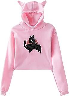 Toothless Dragon Girls Cat Ear Hoodie Sweater Cotton Long Sleeve Hooded Sweatshirt