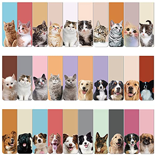 60Pcs Cute Dog Cat Magnetic Bookmarks Pet Magnet Markers Bookmark Page Clips Gifts for Kids Women Men Books Student Office Teacher Reading Stationery Supply