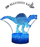CIDEARY Dinosaur Night Light, 3D Dinosaur Lamp 7 Colors Optical Illusion Touch Remote Control with Acrylic Flats Best Christmas Birthday New Year Gifts for Boys Girls Kids Baby (Gigantspinosaurus)