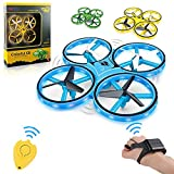 Haktoys LED Drone Gesture Controlled Wristband Quadcopter with Gravity Sensor, Altitude Hover, Low Battery Warning, 360° Spins, Headless and Speed Modes, Colors May Vary