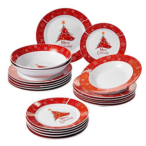 VEWEET, Serie Christmastree, 20-teilig Tafelservice für Weihnachten, Geschirrset beinhaltet Große Salatschalen, Frühstückteller, Speiseteller und Suppenteller