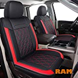 LUCKYMAN CLUB D02-ZGJ Seat Covers Fit for 2011-2021 Ram 1500/2500/3500 Crew/Quad/Double/Regular/Mega Cab Trucks with Waterproof Faux Leather(Full Set, Black&Red)
