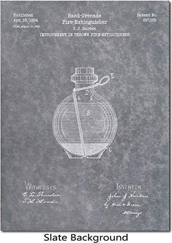 Grenade Fire Extinguisher Patent Print Art 1884