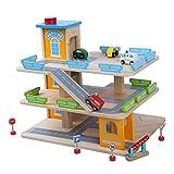 Tiktaktoo Parc de Stationnement en Bois Parktower Jouets Enfants Garage de Voiture Parking Garage INCL. 4 Voitures Jouets