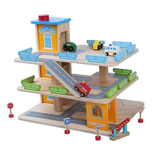 TikTakToo Parkgarage aus Holz Parktower Spielzeug Kinder Autogarage Parkhaus Garage incl. 4 Spielzeugautos