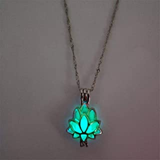 Guoshang Luminous Pendant Necklace Creative Hollowed Lotus Glow in The Dark Pendant for Women Jewelry- Yellow Green
