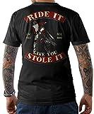 NG articlezz – Motocross Rider T-Shirt - Ride It Like You Stole It Frontal y Estampado en la Espalda Talla S-5XL - Negro/Negro, L