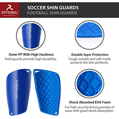 arteesol Football Shin Guards (Blue, M)